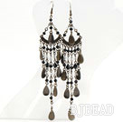 Vintage Style Black and Clear Crystal Long Earrings