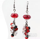 Assorted Red and Black and Clear Crystal Earrings