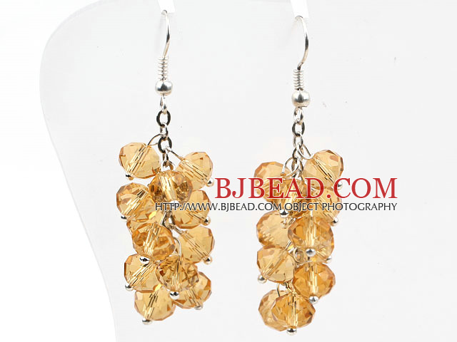 Cluster Style Amber Color Crystal Earrings