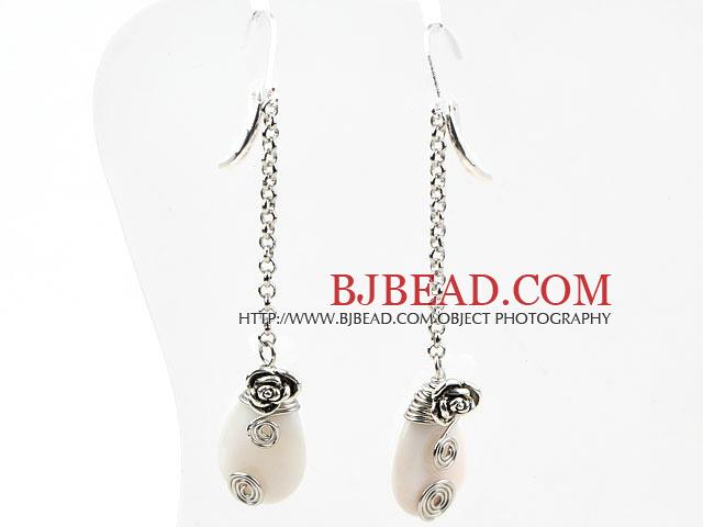 Classic Design Dangle Style Drop Shape White Shell Long Earrings