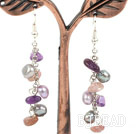 Dangle Style Frshwater Pearl and Amethyst and Strawberry Quartz Long Earrings