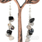 Dangle Style Gray Black Series Freshwater Pearl and Agate Long Earrings