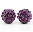 Fashion Style Dark Purple Rhinestone Ball Studs Earrings under $ 40