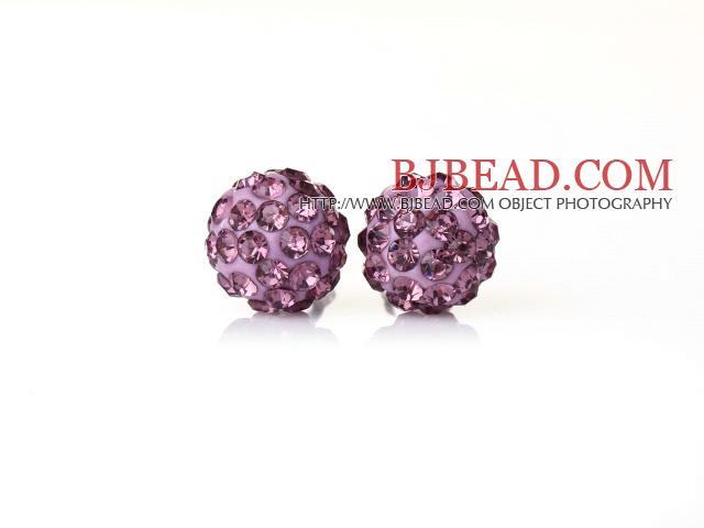 Fashion Style Light Purple Rhinestone Ball Studs Earrings