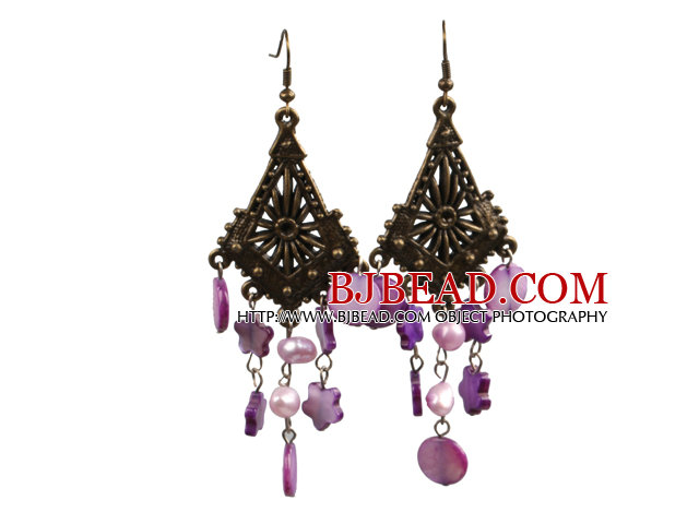 Vintage Style Chandelier Shape Purple Pearl Shell Bronze Hook Earrings