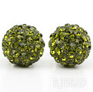 Fashion Style Olive Green Rhinestone Ball Studs Earrings under $ 40
