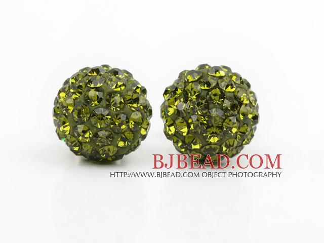 Fashion Style Olive Green Rhinestone Ball Studs Earrings