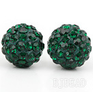 Fashion Style Dark Green Rhinestone Ball Studs Earrings under $ 40