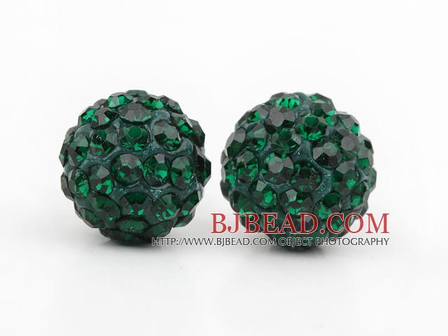 Fashion Style Dark Green Rhinestone Ball Studs Earrings