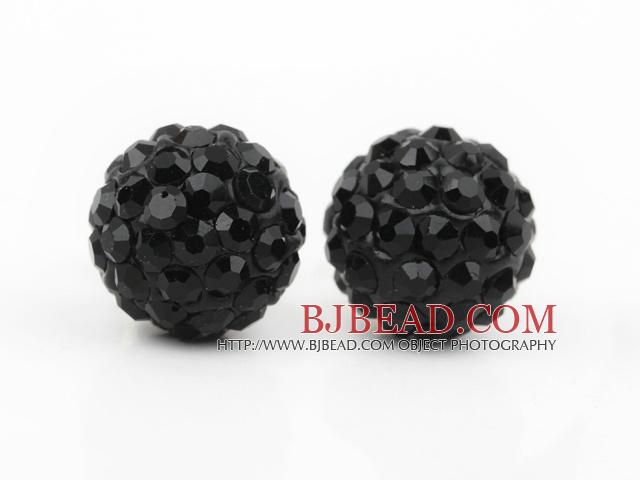 Fashion Style Black Rhinestone Ball Studs Earrings