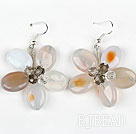 Natural Color Agate and Crystal Flower Shape Earrings
