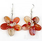 Natural Color Agate and Multi Color Crystal Flower Shape Earrings