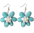 Turquoise and White Pearl Flower Shape Earrings