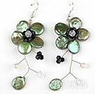 Olive Green Coin Pearl and Pearl Crystal Flower Shape Earrings under $ 40