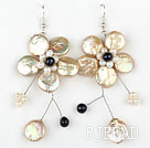 Champagne Color Coin Pearl and White Pearl Crystal Flower Shape Earrings under $ 40