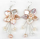 Natural Violet Coin Pearl and White Pearl Crystal Flower Shape Earrings under $ 40