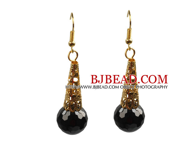 Simple Classic Design Faceted Black Agate Dangle Earrings With Golden Hook
