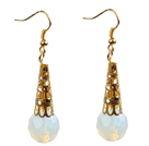 Simple Classic Design Round Opal Dangle Earrings With Golden Hook