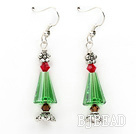 Classic Design Green Austrian Crystal Christmas / Xmas Tree Shape Earrings