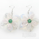 Elegant Style Rose Quartz and Opal and Green Agate Flower Shape Earrings under $ 40