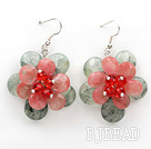 Faceted Prehnite and Cherryq Quartz Flower Shape Earrings