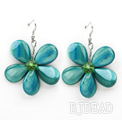 Peacock Green Color Drop Shape Shell Flower Earrings under $ 40