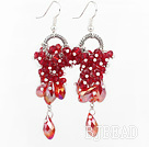 New Design Dangle Style Red Crystal Earrings