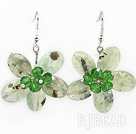 Green Series Faceted Green Rutilated Quartz and Green Crystal Flower Earrings
