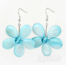 Light Blue Series Light Blue Shell and Blue Crystal Flower Earrings under $ 40