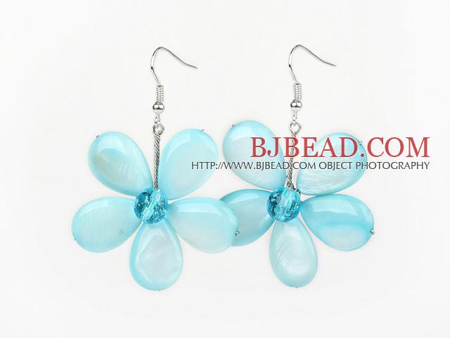 Light Blue Series Light Blue Shell and Blue Crystal Flower Earrings