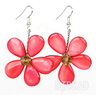 Hot Pink Series Hot Pink Shell and Orange Color Crystal Flower Earrings under $ 40