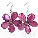 Purple Red Series Purple Red Shell and Purple Red Crystal Flower Earrings under $ 40