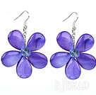 Purple Series Purple Shell and Purple Crystal Flower Earrings under $ 40