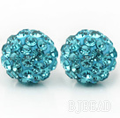 Fashion Style Lake Blue Rhinestone Ball Studs Earrings