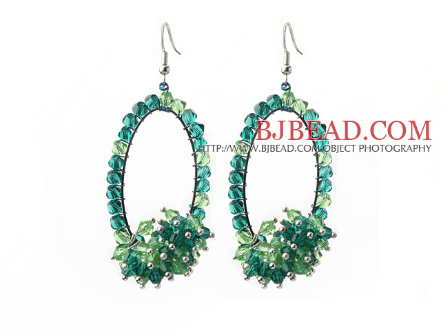 Assorted Fashion Style Green Series Green and Blue Crystal Hoop Earrings