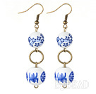 Dangle Style Double Round Blue and White Porcelain Beads Earrings