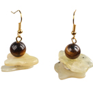 Special Fashion Design Irregular Shape Yellow Opal And Tiger Eye Stone Dangle Earrings