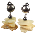 Special Fashion Design Irregular Shape Yellow Opal And Tungsten Steel Stone Dangle Clip Earrings