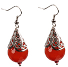 Simple Vintage Style Faceted Red Agate Dangle Earrings With Tibet Silve Accessory