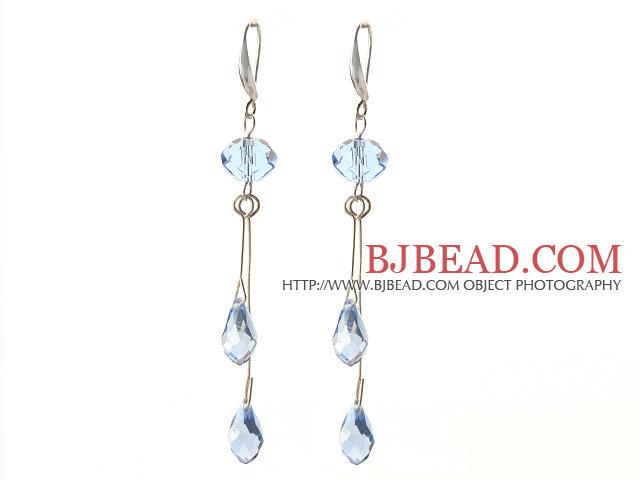 Dangle Style Manmade Sky Blue Crystal Earrings