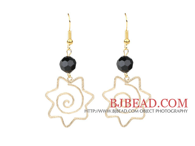 Fashion Style Faceted Black Agate and Yellow Color Metal Earrings