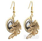 Fashion Style Black Seashell Beads and Immitation Gold Earrings under $ 40