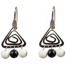 Popular Fashion Natural Black Agate And White Porcelain Earrings With Triangular Accessory