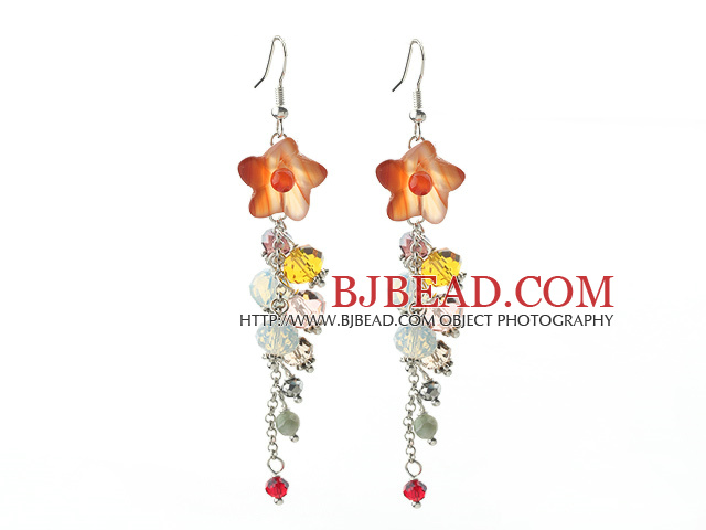 Dangle Style Orange Agate Flower and Multi Color Manmade Crystal Long Earrings