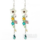 Dangle Style Serpentine Jade Flower and Multi Color Manmade Crystal Long Earrings