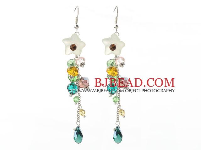 Dangle Style Serpentine Jade Flower and Multi Color Manmade Crystal Long Earrings