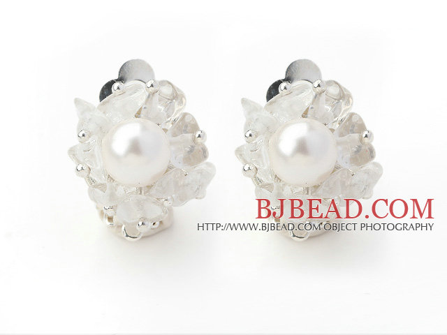 New Design Fashion Style Clear Crystal and White Seashell Beads Clip Earrings