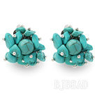 New Design Fashion Style Assorted Turquoise Chips Clip Earrings