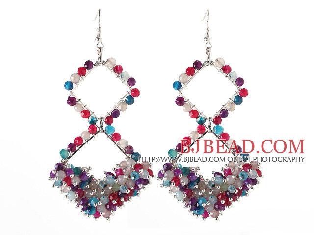 New Design Rhombus Shape Assorted Multi Color Agate Earrings