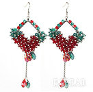 Assorted Rhombus Shape Red and Green Crystal Dangle Earrings under $ 40